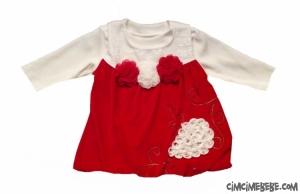 Çiçekli Kadife Bebe Elbise