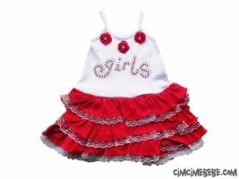 Girl Nakışlı Kat Kat Etekli Bebe Elbise