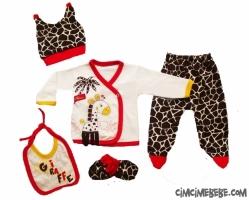 Zürafa Aplikeli 5 Parça Bebe Zıbın