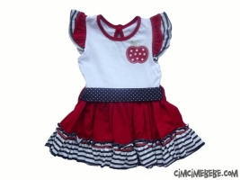 Elma Nakışlı Bebe Elbise