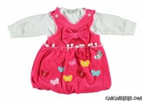 Kelebekli Kadife Bebe Elbise