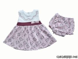 Kalp Baskılı Külotlu Bebe Elbise