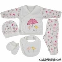 Şemsiyeli Kuş Nakışlı 5'li Bebe Zıbın