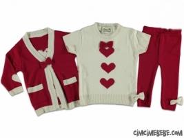 Kalp Baskılı Triko Takım