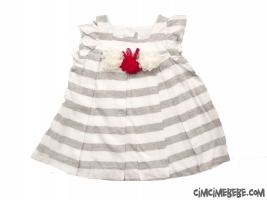 Çiçekli Pileli Penye Bebe Elbise