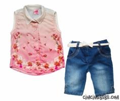 Çiçekli Şifon Gömlekli Kız Takım
