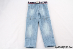 Kemerli Buz Mavi Erkek Kot Pantolon