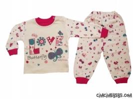 Kelebek Kuş Baskılı Kız Pijama Takımı