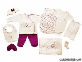 Kroşetalı Kalpli 10'lu Bebe Zıbın Seti