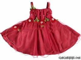 Kiraz Aplikeli Prenses Bebe Elbise