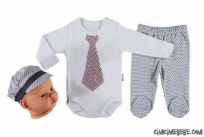 Kravat Baskılı Badili Bebe Takım