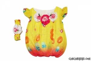 Yakası Güllü Şifon Bebe Balon Elbise