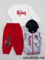 Monkey Baskılı Kışlık Eşofman Takımı