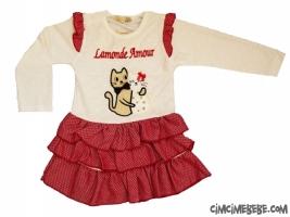 Kedi Nakışlı Kat Kat Etekli Bebe Elbise