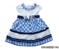 Ekose Kesikli Kız Çocuk Elbise