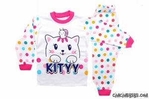 Kitty Baskılı Penye Kız Pijama Takımı
