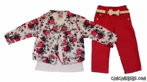 Çiçekli Ceketli 3'lü Bebe Takım
