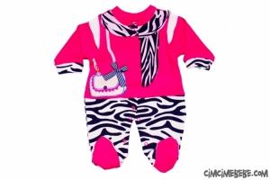 Zebra Desenli Flar Baskılı Bebe Tulum