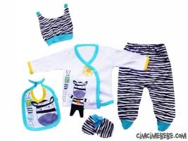 Zebra Desenli 5'li Bebe Zıbın Seti