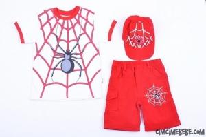 Örümcek Baskılı Şapkalı Takım