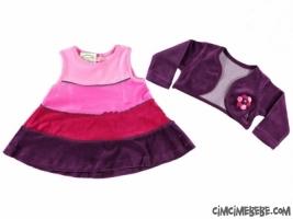 Renkli Bolerolu Kadife Elbise