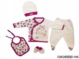 Çiçekli Ayıcık Aplikeli 5'li Bebe Zıbın