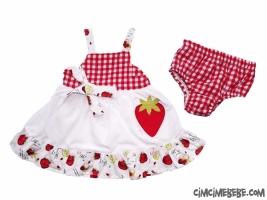 Askılı Çilek Bebe Elbise