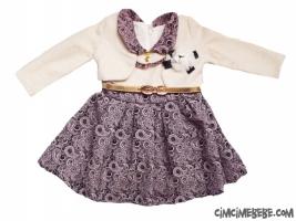 Bolerolu Şal Desenli Kız Elbise