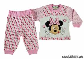 Puanlı Çiçekli Fare Baskılı Bebe Pijama Takımı