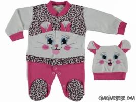 Kedi Suratlı Penye Bebe Tulum