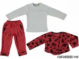 Flok Ceket Pantolon Üçlü Takım