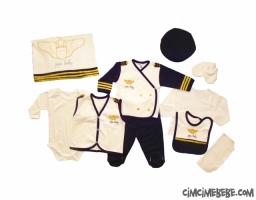 Pilot Kostüm 10 Parça Bebe Zıbın Seti