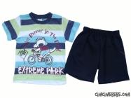 Bisikletçi Bebek Baskılı Şortlu Takım
