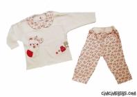 Fiyonklu Çiçekli Bebe Pijama Takımı