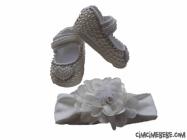 İncili Bebe Ayakkabı-Bandana Set