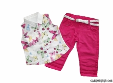 Kelebekli Şifon Bluzlu Kız Çocuk Takım