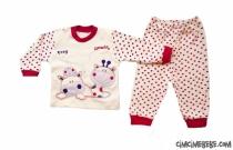 Puanlı Zürafa Nakışlı Bebe Pijama Takımı