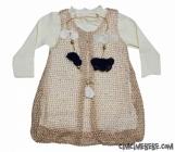 Kolyeli Fileli 2'li  Bebe Elbise