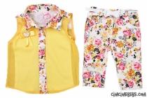 Şifon Gömlekli Çiçekli Kız Takım