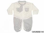 Kravatlı Cep Nakışlı Piti Kareli Bebe Tulum