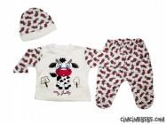 İnek Baskılı Çiçekli Bebe Pijama Takımı