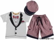 Şapkalı Sahte Papyonlu Ekose Takım