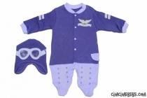 Kanat Armalı Nakışlı Pilot Bebe Tulum