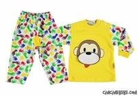 Maymun Baskılı Desenli Bebe Pijama Takımı