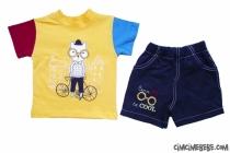 Bisikletli Bilgin Kısa Kollu Takım