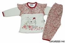 Çiçekli Kız Bebe Pijama Takımı