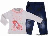 Pantolonu Kabartmalı Kız Bebe Takım