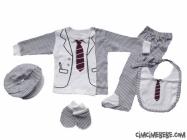 Kravat Baskılı 5'li Bebe Zıbın Seti