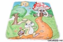 Tavşan Baskılı Fermuarlı Peluş Battaniye