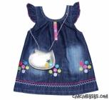 Düğmeli Çantalı Bebe  Kot Elbise